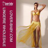 Elegant Beach Wrap Yellow Mesh Maxi Skirt Woman Skirt (L38247-1)
