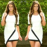 Women Stitching Short Sleeve Irregular Bandage Office Dresses White (50221)