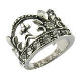 UK Crystal Silver Crown Ring
