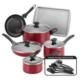 Amazon Vendor Dishwasher Safe Nonstick 15-Piece Cookware Set Red