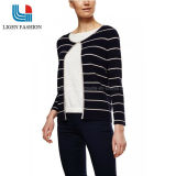 Knitted Cardigan with Black White Stripe for Women