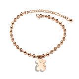 Women Jewelry Fashion Stainless Steel Cute Bear Charm Bracelet