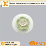 White Glazed Ceramic Perfume Bottle with Flower Cap for Sale