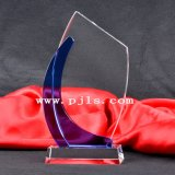 Black Theme Crystal Glass Trophy Award with Sandblasting and Colored