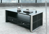 Office Modern Style Coffee Table with Tempered Glass (CT-V1)