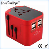 Good Quality Quad USB Universal Travel Adapter in Red (XH-UC-014)