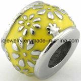 Yellow Enamel Flower Bead for Girls