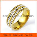 Shineme Jewelry Double Row Stones Stainless Steel Gold Plated Ring (CZR2571)
