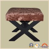 Wooden X Bench Ottoman in Velvet Fabric