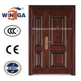 3D Design Brown Color Exterior Security Steel Metal Door (W-SZ-05)