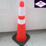 "36"" Black Base PVC Traffic Cone"