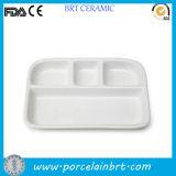 Porcelain Divided Rectangular White Plate