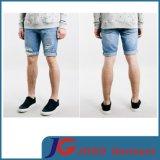 Fashion Broken & Ripped Roll Bottom Men Denim Straight Shorts (JC3342)