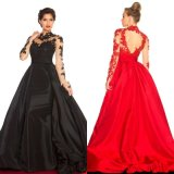 A-Line Long Sleeve Evening Dress High Collar Court Taffeta Prom Dress W147199