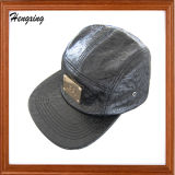 Fashion Leather 5 Panel Hat with Metal Label