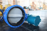 Pneumatic Actuated Double Flanged Butterfly Valve with Nylon Disc