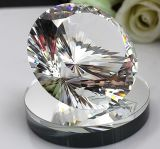 80mm 100mm Machine Cut Crystal Diamond with Mirror Base Stand