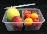Double-Grid Plastic Microwave Food Container