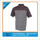Custom Stripe Brown Golf Polo Shirt with Embroidered Logo