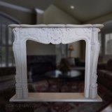 French Style White Marble Fireplace Mantel with Floral Carvings T-6587