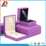 LED Light PU Leather Gift Boxes with Velvet Insert for Ring Necklace Bracelet Jewellery Packaging