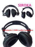 Professional Leather Stereo Mini PC Headphone with Fodable