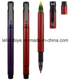 Plastic Ball Pen with Highlighter Nite Writer Pen (LT-D009)