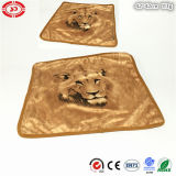 Brown Square Lion Printed Soft Plush Pillowcase with Zipper