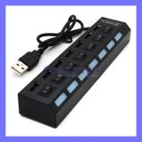 with LED Indicator Overcurrent Protection Turn on off Switches Control 7 Port USB Hub