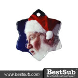 Bestsub Personalized Sublimation Big Snow Flake Ceramic Ornament with Hole (H006)