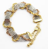 Mesh Stainless Steel Bracelet with Gold & Rose Gold Chain Arround