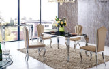 Modern High Gloss Glass Stainless Steel Dining Table Set