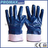 Safety Cuff Jersey Cotton Liner Blue Nitrile Fully Coated Gloves with Ce Certificate