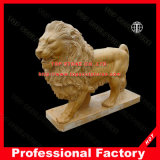 Yellow Marble Lion Sculpture for Home or Garden Decoration
