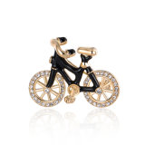 Black Bike Rose Gold Crystal Rhinestone Alloy Brooch