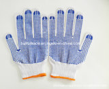 Rubber Dotted Plastic Glove with Slip Resistant