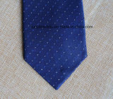 Poly Woven Navy Dots Necktie for Men