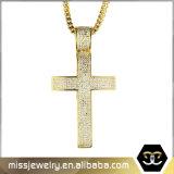 Fashion Jewelry Stainless Steel Zircon Cross Pendant for Men