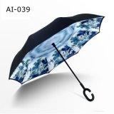 Chinese Element Printed C Shape Handle Reverse Upside Down Promotional Umbrella