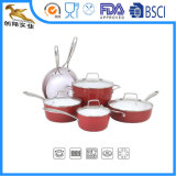Forged Non Stick Aluminum Cookware Set Red 10PC (CX-AS1001)