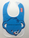 Factory OEM Produce Customized Logo Bear Cartoon Printed Soft Cotton Jersey Blue Baby Bibs