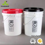Round 20L Plastic Pail with Lid and Metal Handle for Industrial Packaging and Food Packaging