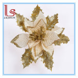 Christmas Decorations 17 Cm Golden and Silver and Red Diamond Velvet Flowers Santa Simulation Flowers Artificial Flowers