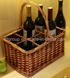 Customized Antique Handled Retangular Wicker Storage Basket for Wine