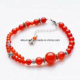 Semi Precious Stone Fashion Crystal Carnelian Beaded Bracelet Jewelry