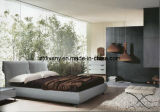 European Style Leather Fabric Wood Soft Double Bed (A-B25)