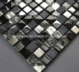 Black Ice Cracked Marble and Glass Mosaic Tile (15*15)