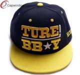 3D Embroidery Flat Brim Baseball Hats with Yellow pattern(05006)