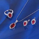 Xuping Fashion Luxury Ruby Jewelry Set with Rhodium Plated (61092)
