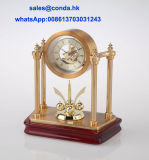 Luxury Rotate Table Clock K5003G Skeleton Clock Kit Gift Clock Set Business Souvenir Giveaway